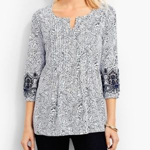 Talbots | Embroidered Plus Sized Boho Peasant Top